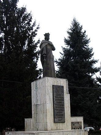 Roman, Romania - The statue of Roman I of Moldavia