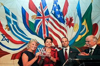 Woodrow Wilson Awards - Brazilian President Dilma Rousseff receives Woodrow Wilson Award in New York City, 21 September 2011.