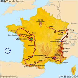 2000 Tour de France - Route of the 2000 Tour de France