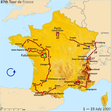 Route of the 2000 Tour de France