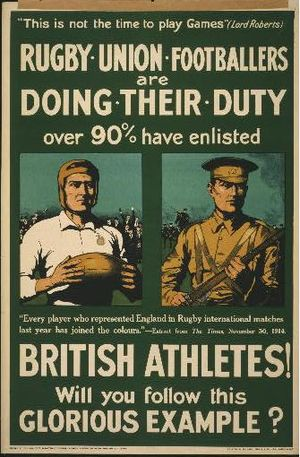 Rugby union in Wales - World War I recruitment poster