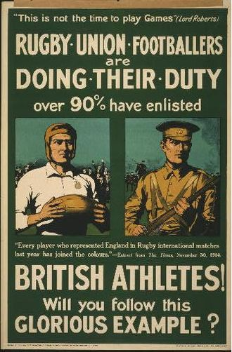 Army Rugby Union - 1915 British Army Recruiting Poster during The Great War
