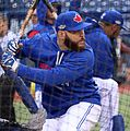 Russell Martin takes batting practice before the AL Wild Card Game. (30041847392).jpg