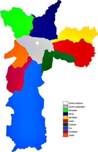 Subdivisions of São Paulo - Geographic Areas of the city of São Paulo