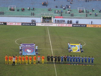 Bhutan national football team - Bhutan lining up vs. Maldives at the 2013 SAFF Championship