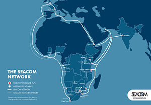 Telecommunications in Kenya - SEACOM-Network Map. Click on map to enlarge.