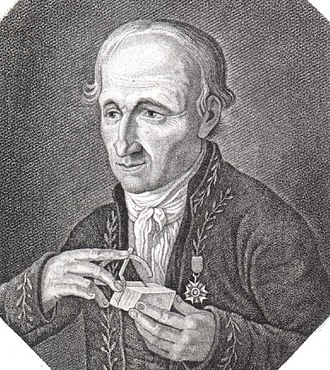 René Just Haüy - Haüy with a contact goniometer, ca. 1812