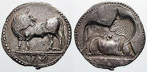 Sybaris - Nomos of Sybaris with characteristic bull symbol, c. 550–510 BC