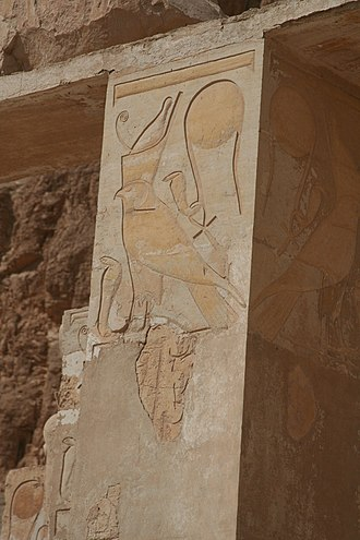 Wadjet - Two images of Wadjet appear on this carved wall in the Hatshepsut Temple at Luxor.