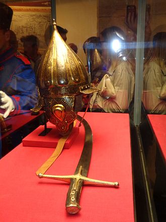 Siege of Szigetvár - Sabre and helmet of Nikola Šubić Zrinski at an exhibition in Međimurje County Museum in September 2016 on the 450th anniversary of the battle