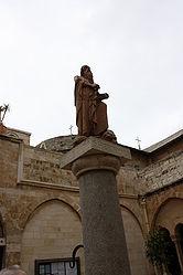 Saint Jerome statue in Church of Saint Catherine courtyard 2.jpg