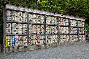 Sake - Sake barrel offerings, Tsurugaoka Hachiman-gū