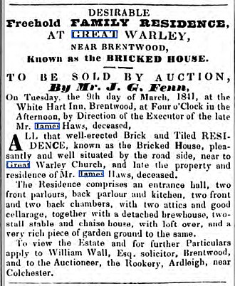The Brick House, Great Warley - Advertisement for the sale of Bricked House (now the Kilns Hotel) in 1841