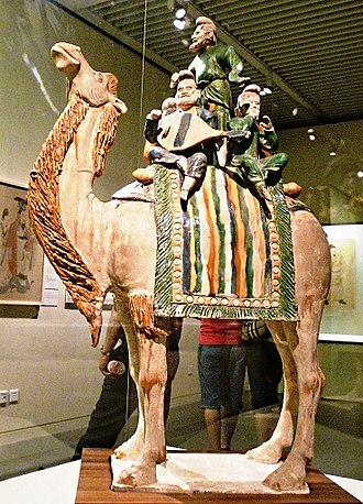 Sancai - Foreign musicians on camel. Sancai glaze. 723 CE