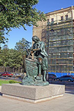 Grand Embassy of Peter the Great - A statue of Peter I working incognito at a Dutch wharf.