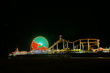 The Ferris Wheel And Roller Coaster Lights At Night 2009