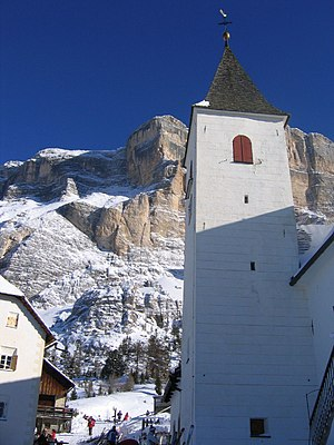 Badia, South Tyrol - Holy Cross Church and Sas dla Crusc