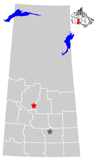 Location of Saskatoon (indicated by the red star)