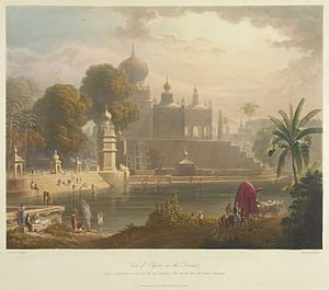 Saswad - Saswad from the Sangameshwar temple in 1813 by British artist Robert Melville Grindlay.The Purandare palace can be seen in the background