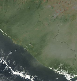 Outline of Liberia - An enlargeable satellite image of Liberia
