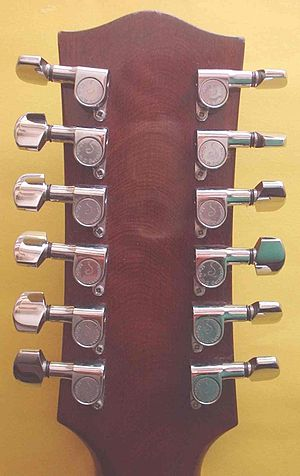 Schaller Electronic GmbH - Aftermarket Schaller machine heads fitted to a 12 string guitar.
