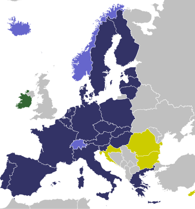 labelled map of Europe showing Schengen Area
