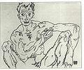 Schiele - Männlicher Akt kauernd Selbstporträt - 1918.jpg