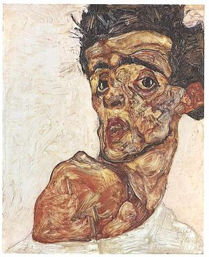 Facing the Modern: The Portrait in Vienna 1900 - Egon Schiele: Self Portrait with Raised Bare Shoulder, 1912 (oil on wood, 42.2 cm × 33.9 cm), Leopold Museum Private Foundation, Vienna