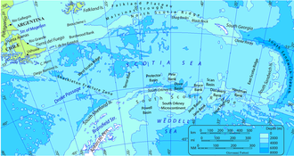Scotia Sea - Map of Scotia Sea. Toponyms: Undersea relief, maritime, nearby lands, countries and cities. Isobath interval: 2000 m