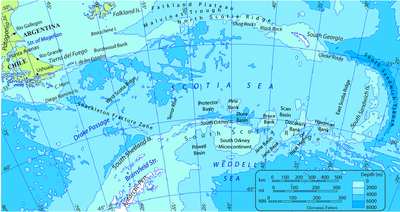 Map of Scotia Sea. Toponyms: Undersea relief, maritime, nearby lands, countries and cities. Isobath interval: 2000 m