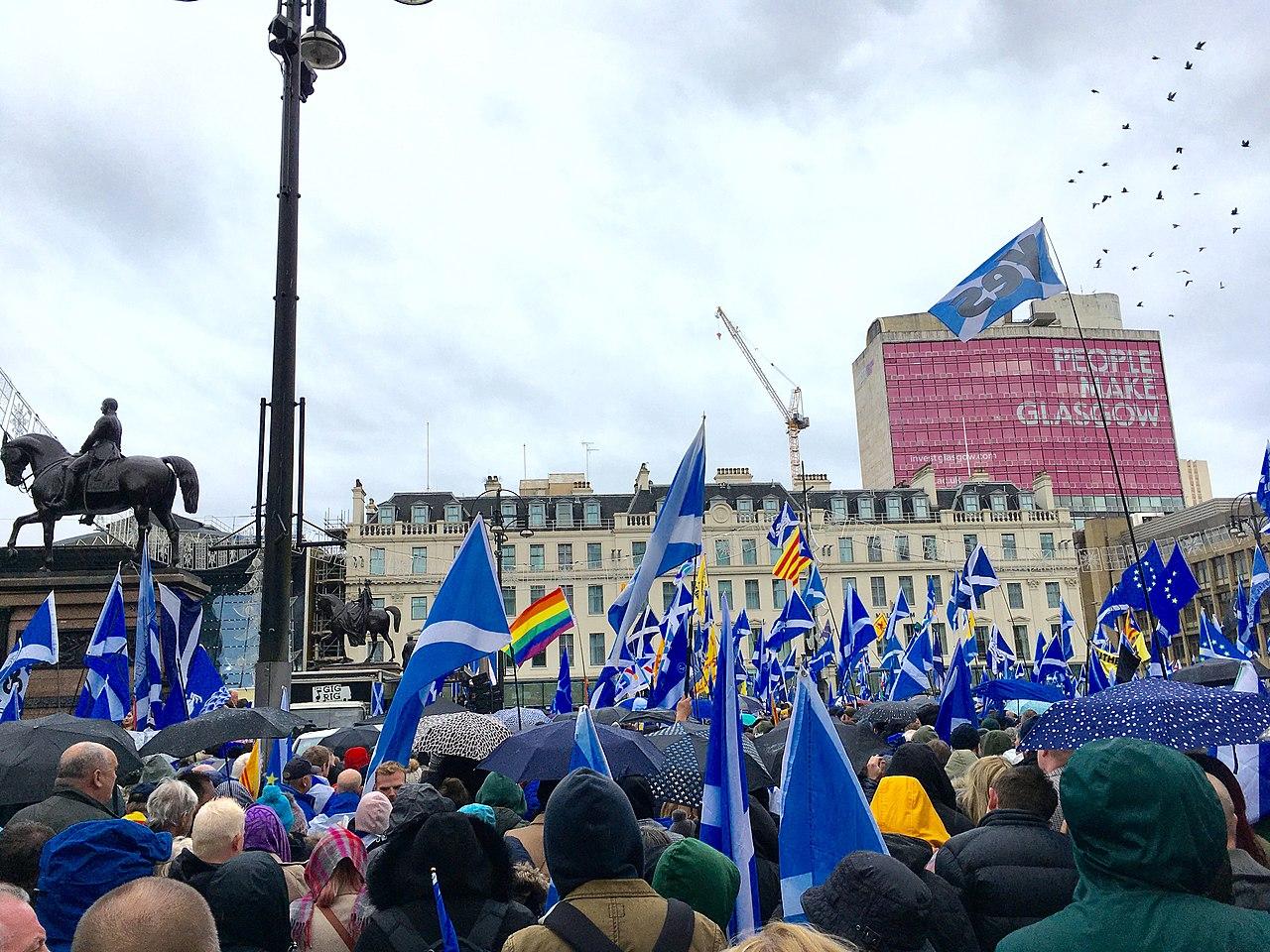 Eine Demonstration für die Unabhängigkeit in Glasgow 2019