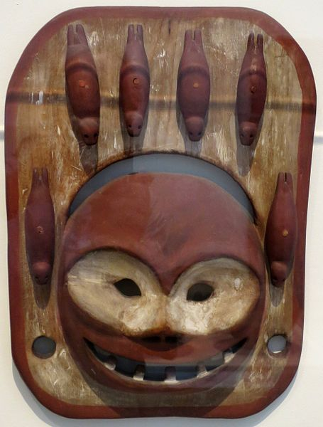 File:Seal mask, Eskimo, early 20th century, carved wood, red and white pigments, whale ivory.JPG