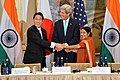 Secretary Kerry Poses for a Family Photo With Japanese Foreign Minister Kishida and Indian External Affairs Minister Swaraj at the Inaugural U.S.-India-Japan Trilateral Ministerial in New York City (21634896078).jpg