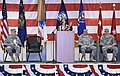 Secretary of State, Kate Brown, addresses service members of Charlie Co. 7-158 Aviation, Oregon Army National Guard and their families during a ceremony to honor the return from a year long deployment to Kuwait.jpg