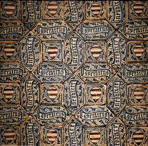 Azulejo - Image: Section of a tile floor with coat of arms