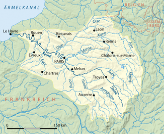 Course and catchment area of the Seine