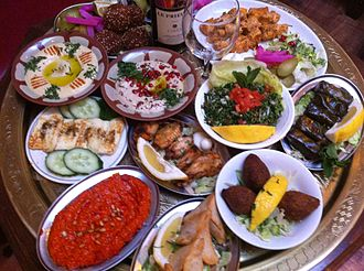 Culture of Lebanon - A selection of Lebanese dishes from Cafe Nouf Restaurant in London