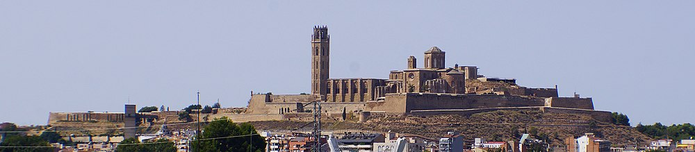 View from east of La Seu Vella, old cathedral and bishop's buildings (1286) and fortress (1707) on Turó de la Seu Vella in Lleida (Photo 2017)