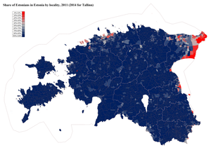Demographics of Estonia - Share of ethnic Estonians by Estonian locality