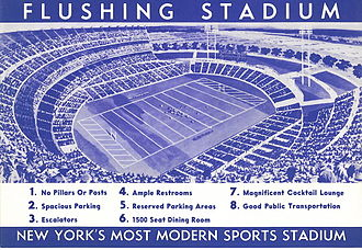 History of the New York Jets - The move to then-modern Shea Stadium, as the Flushing stadium was named, with its promise of ample restrooms and dining, from the decrepit Polo Grounds was a selling point for Titans (and later Jets) tickets.  This is reproduced from the 1962 Titans ticket order form.
