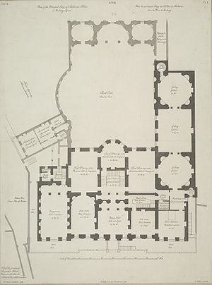 Lansdowne House - A plan of the main floor of the house published in 1765.
