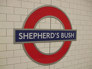 Stations around Shepherd's Bush - The roundel sign at the present-day Shepherd's Bush tube station