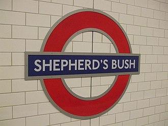 Stations around Shepherd's Bush - The roundel sign at the present-day Shepherd's Bush tube station