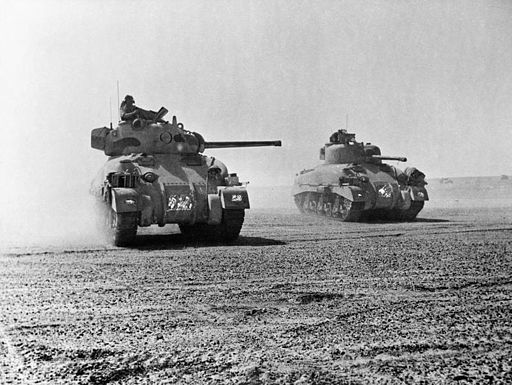 Sherman tanks of 9th Queen's Royal Lancers during the Battle of El Alamein, 5 November 1942. E18972