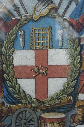 Honourable Artillery Company - Shield of the Honourable Artillery Company, in sand, 19th century.