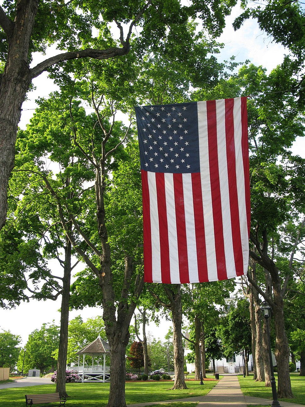 Shrewsbury Common U.S. flag display for Memorial Day
