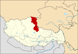 Location of Shuanghu County within Tibet