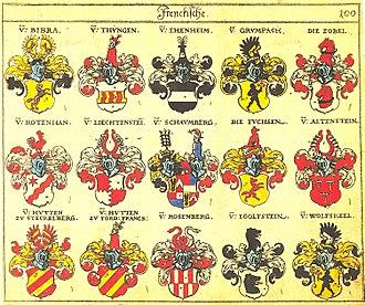 Bibra family -  Siebmachers Wappenbuch of 1605, listing the Bibra family as the most important family of Franconia under the rank of Freiherr (Baron)