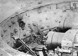 Russian battleship Sissoi Veliky - Explosion aftermath, interrupted screw breeches can be seen
