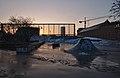Skatepark des Ursulines with snow at sunset, looking towards Gare de Bruxelles-Chapelle (closer).jpg